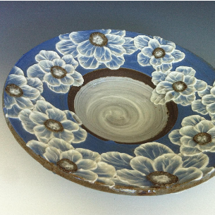 Wide Rim Bowl with Poppies in Sky Blue